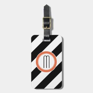 Diagonaler Streifen-Monogramm-Gepäckanhänger - Kor Kofferanhänger