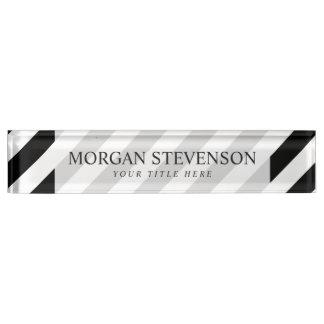 Diagonales Streifen-Schwarzweiss-Muster Schreibtischplakette