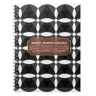 Diamant-Dreieck-Blüten-Schwarz-weißes Notizbuch Spiral Notizblock