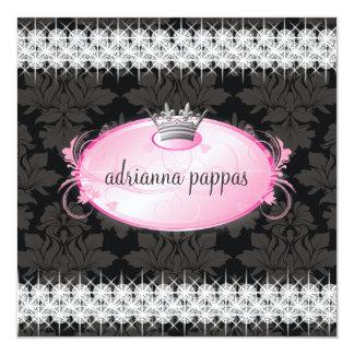 Diamant-Einladung der Freuden-311-Pink Quadratische 13,3 Cm Einladungskarte