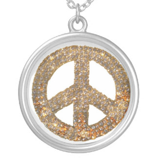 Diamant-Entwurfs-Friedenszeichen Jewlery Versilberte Kette