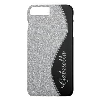 Diamant-Glitter-Silber-Schwarz-Monogramm iPhone iPhone 7 Plus Hülle