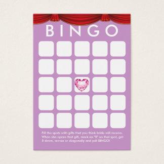 Diamant-Herz-lila Brautparty-Bingo-Karte Visitenkarte