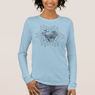 Diamant-Herz-Schneeflocke-weich Blau Langarm T-Shirt