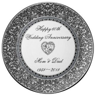 Diamant-Hochzeitstag-Porzellan-Platte Porzellanteller