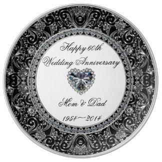 Diamant-Hochzeitstag-Porzellan-Platte Teller Aus Porzellan