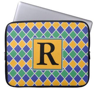Diamant-Muster #82 mit Monogramm Laptop Sleeve