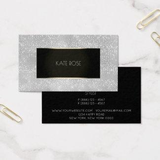 Diamant-Paillette-Schwarz-Silber-GoldEvent-Planer Visitenkarte