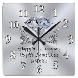 Diamant-personalisierte 60. Jahrestags-Geschenke Quadratische Wanduhr