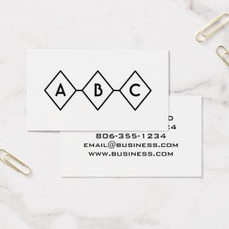 Diamant-Retro modernes Schwarzweiss-Monogramm Visitenkarte