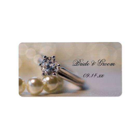 Diamant-Ring-und Perlen-Gastgeschenk Adressetikett