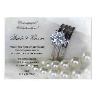 Diamant-Ring-und Weiß-Perlen-Verlobungs-Party 12,7 X 17,8 Cm Einladungskarte