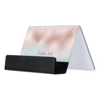 Diamant-Rosen-Goldfolie und Pulver-Blau ID400 Schreibtisch-Visitenkartenhalter