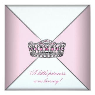 Diamant-Tiara-Rosa-Prinzessin Babyparty Quadratische 13,3 Cm Einladungskarte