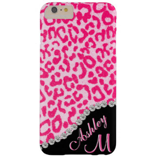 Diamant und rosa Leopard-Monogramm Barely There iPhone 6 Plus Hülle
