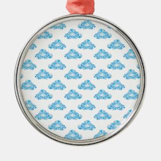 Diamant-Wolken im Himmel-Muster Rundes Silberfarbenes Ornament