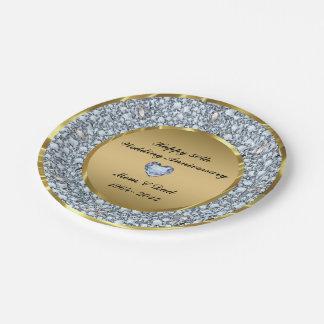 Diamanten u. Hochzeitstag des Gold50. Pappteller 17,8 Cm