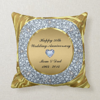 Diamanten u. Hochzeitstag des Gold50. Zierkissen