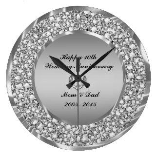 Diamanten u. Silber-10. Hochzeitstag Wanduhren