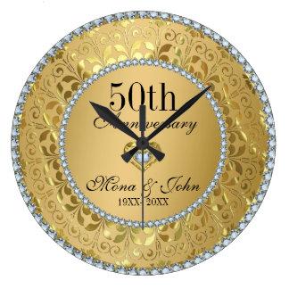 Diamanten und Hochzeitstag des Gold50. Große Wanduhr