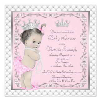 Diamanten und Perlen-Prinzessin Babyparty Quadratische 13,3 Cm Einladungskarte