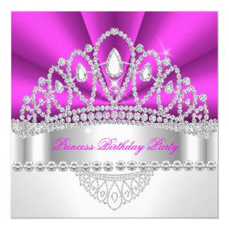Diamanttiara-Geburtstags-Party Prinzessin-heißes Quadratische 13,3 Cm Einladungskarte