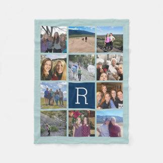 Die 11 Foto-Collage mit Monogramm kann zurück Fleecedecke