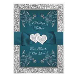 Die aquamarinen und Grau verbindenden Wedding 12,7 X 17,8 Cm Einladungskarte