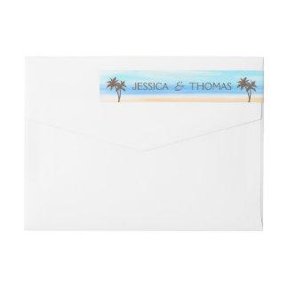 Die Aquarell-Strand-Hochzeits-Sammlung Absender Adressband