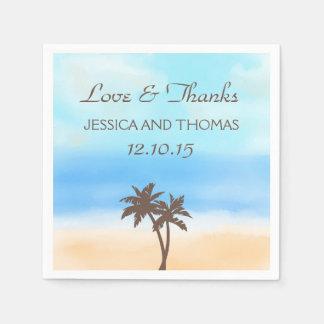 Die Aquarell-Strand-Hochzeits-Sammlung Serviette