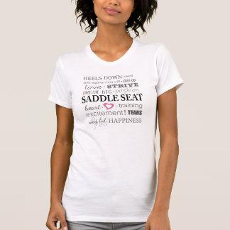 Die Aspekte des Sattel-Sitzes - Damen-lässige T-Shirt