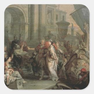 Die Ausschiffung von Kleopatra am Tarsus (Öl an Quadrat-Aufkleber