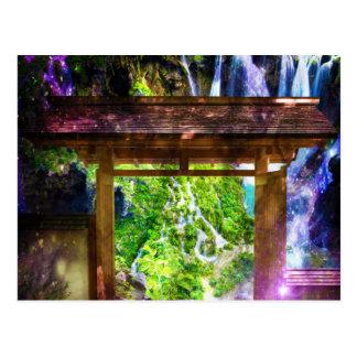 Die Bahn des Regenbogen-Universums zum Paradies Postkarte