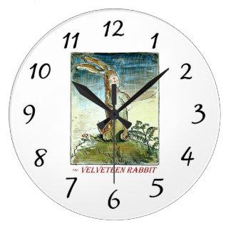 Die Baumwollsamt-Kaninchen-Uhr Große Wanduhr