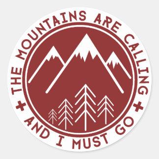 Die Berge nennen Aufkleber