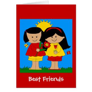 Die besten Freund-Mädchen-blaues Rot des Karte