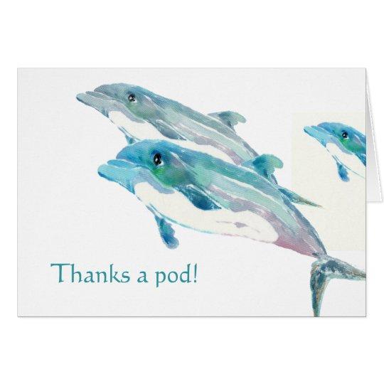 Die blaue lustige Delphin-Kunst danken Ihnen Karte