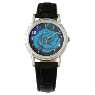 Die blaue Rosen-Mode-Uhr durch Julie Everhart Uhr