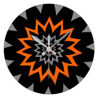 Die blühende Ausdehnung:  Schwarzes und Orange Große Wanduhr