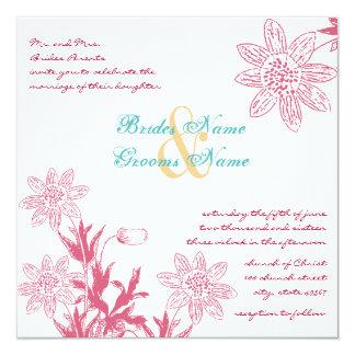 Die Blumen Geißblatt-Frühlings-Hochzeits-Farben Quadratische 13,3 Cm Einladungskarte