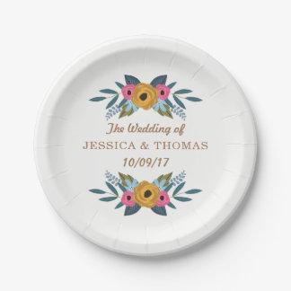 Die BlumenKranz-weiße Hochzeits-Sammlung Pappteller