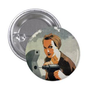 Die bohrende Frau Runder Button 3,2 Cm
