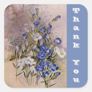 Die botanische Wildblume danken Ihnen Blau des Quadratischer Aufkleber