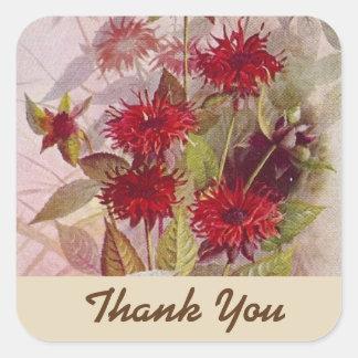 Die botanische Wildblume danken Ihnen Rot des Quadratischer Aufkleber