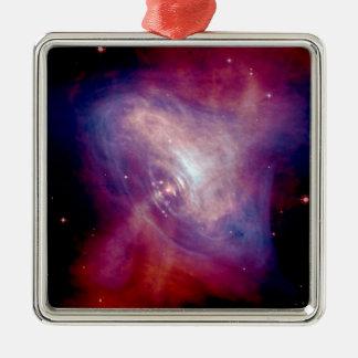 Die Chandra Krabben-Röntgenstrahl-Nebelfleck NASA Quadratisches Silberfarbenes Ornament