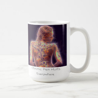Die chronischen Schmerz verletzen überall Kaffeetasse
