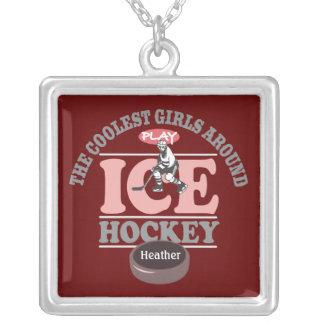 Die coolsten Mädchen um Spiel-Eis-Hockey Versilberte Kette