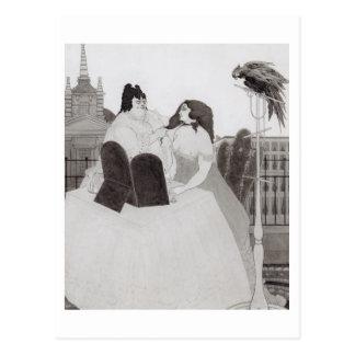 Die Dame an der Frisierkommode (Tinte und Wäsche) Postkarte