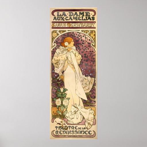 Die Dame der Kamelien-Vintagen Kunst Nouveau Plakatdrucke