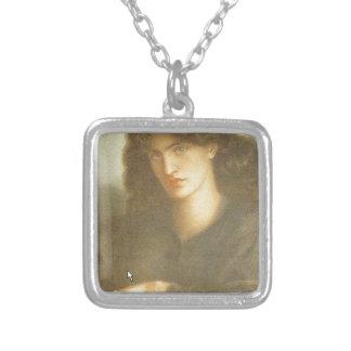 Die Dame des Mitleids durch Dante Gabriel Rossetti Halskette Mit Quadratischem Anhänger